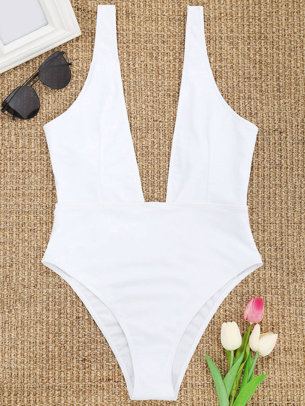 High Cut Plunge Neck Swimsuit
