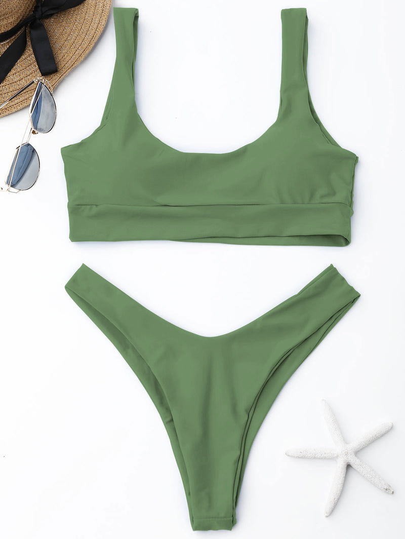 WELOOC Scooped High Cut Bikini Set