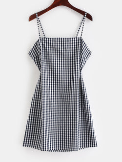 WELOOC Tie Gingham Cut Out Mini Dress
