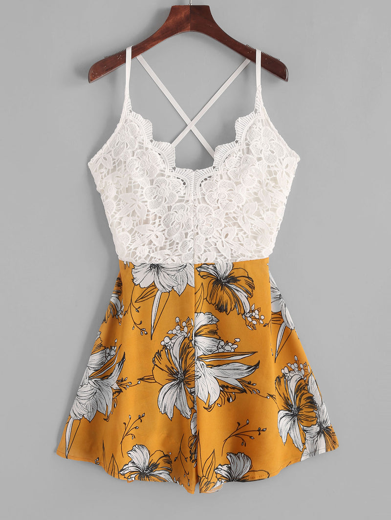 Lace Panel Criss Cross Floral Cami Romper