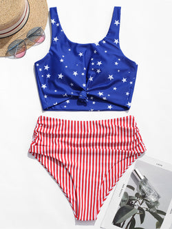 WELOOC Knot Ruched American Flag Tankini Swimsuit