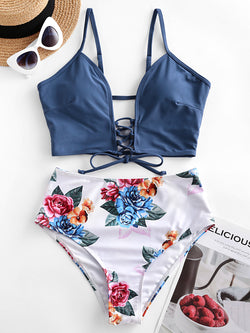 WELOOC Lace-up Floral Leaf Tankini Swimsuit
