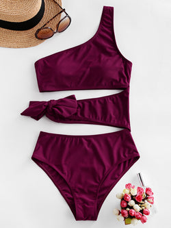 WELOOC Cutout One Shoulder Tie One-piece Swimsuit