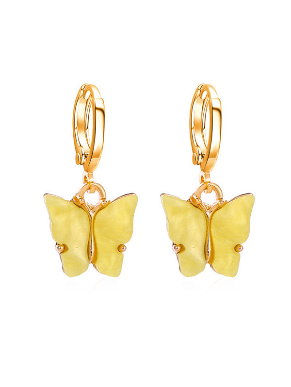 Butterfly Small Hoop Drop Earrings