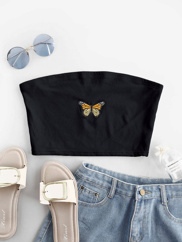 Butterfly Embroidered Crop Strapless Top