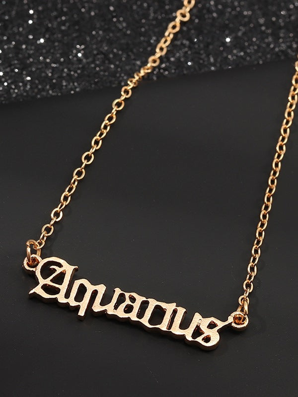 Letter Hollow Horoscope Necklace