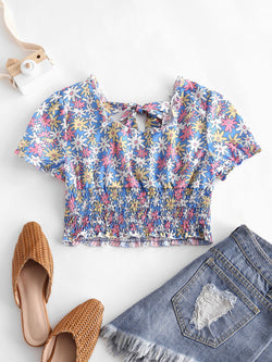 Floral Shirred Crop Top