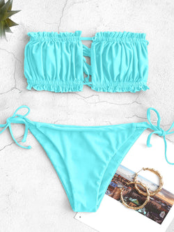 WELOOC Ruffle Tie Side Low Waisted Bandeau Bikini Swimsuit