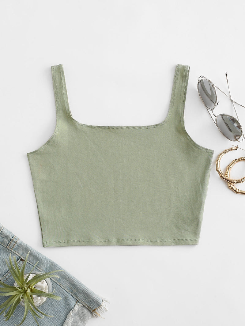 Square Collar Crop Tank Top