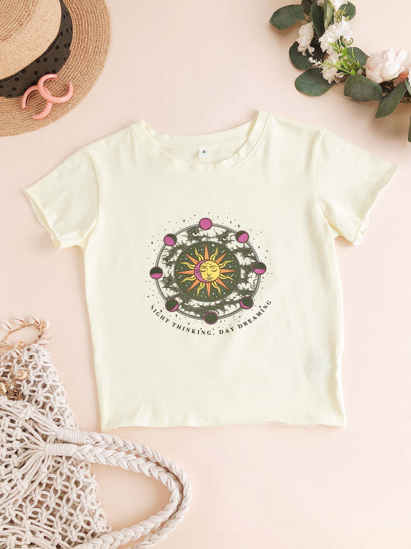 Sun and Moon Letter Print Crop Tee
