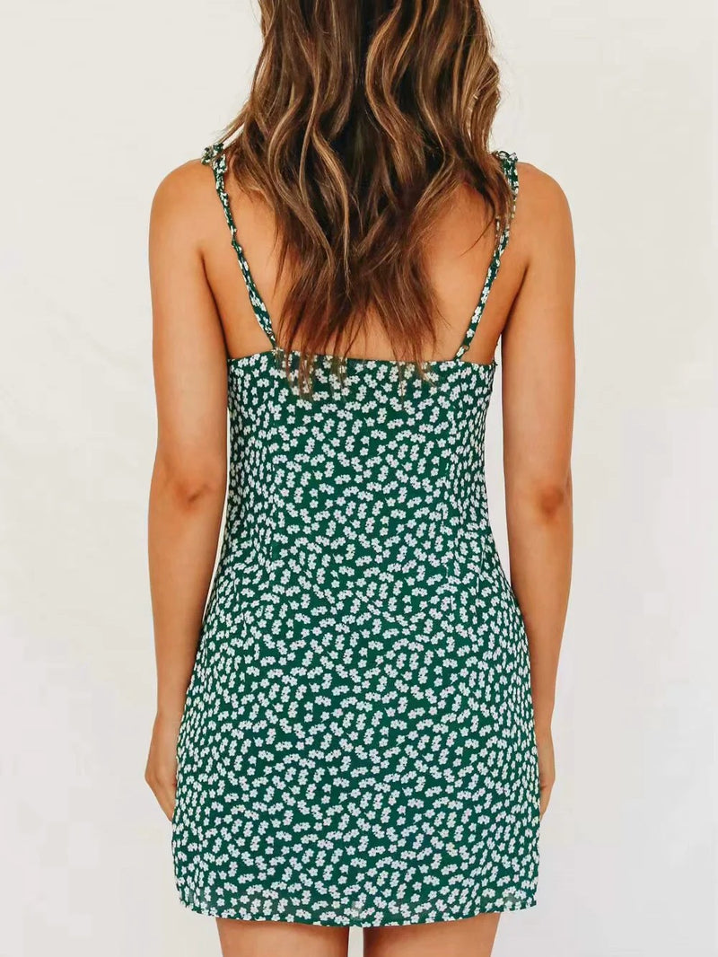 Button Front Ditsy Floral Cami Dress