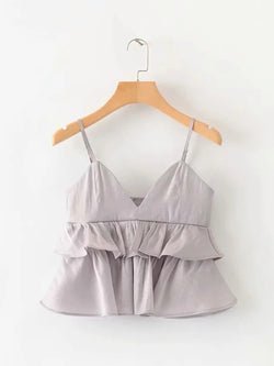 V-Neck Solid Ruffles Pleated Cami