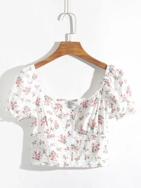 V-Neck Floral Print Pleated Short Top with Button