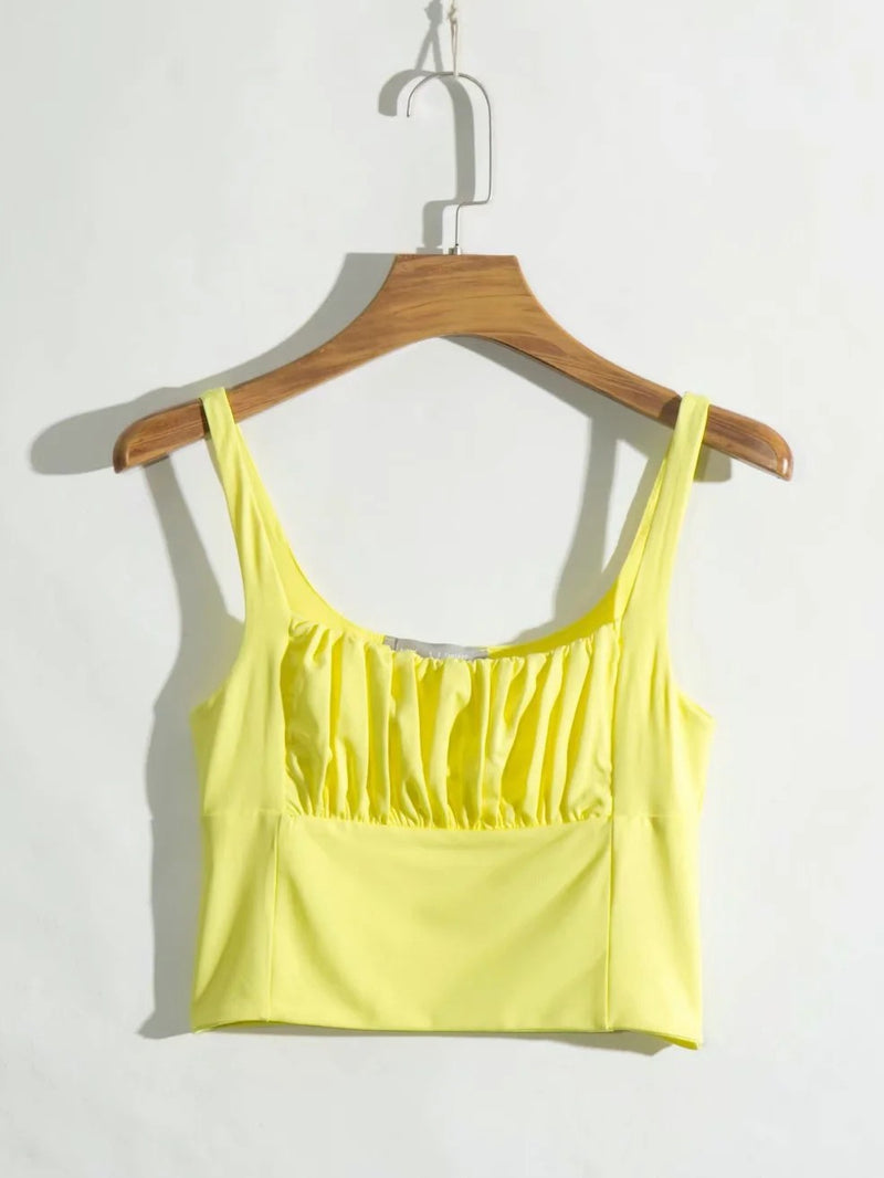 Solid Pleated Backless Cami