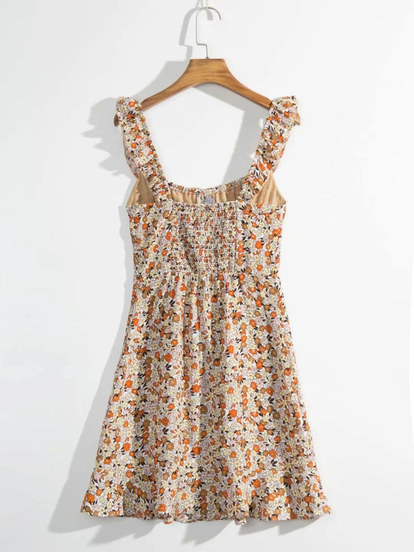 Floral Print Ruffles Backless Mini Cami Dress