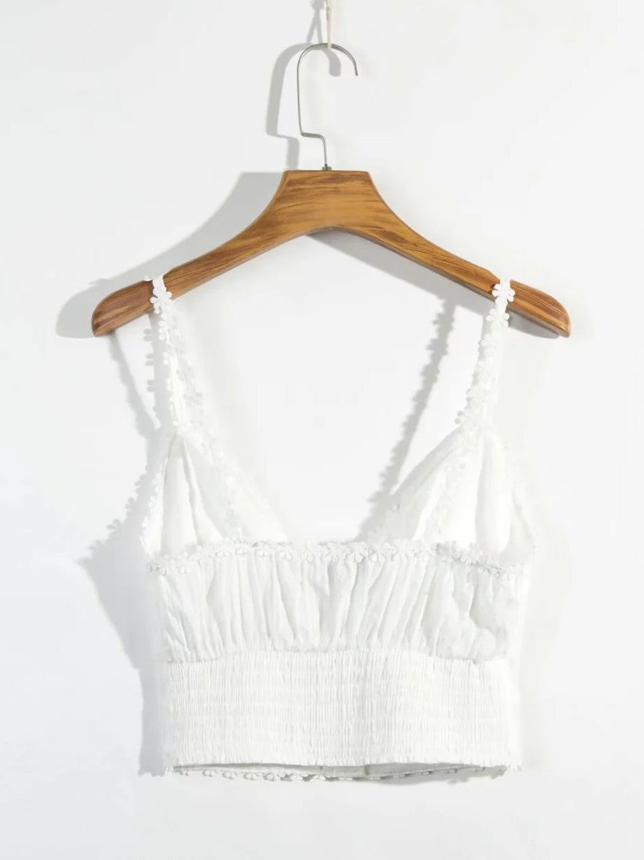 V-Neck Solid Backless Pleated Cami with Button