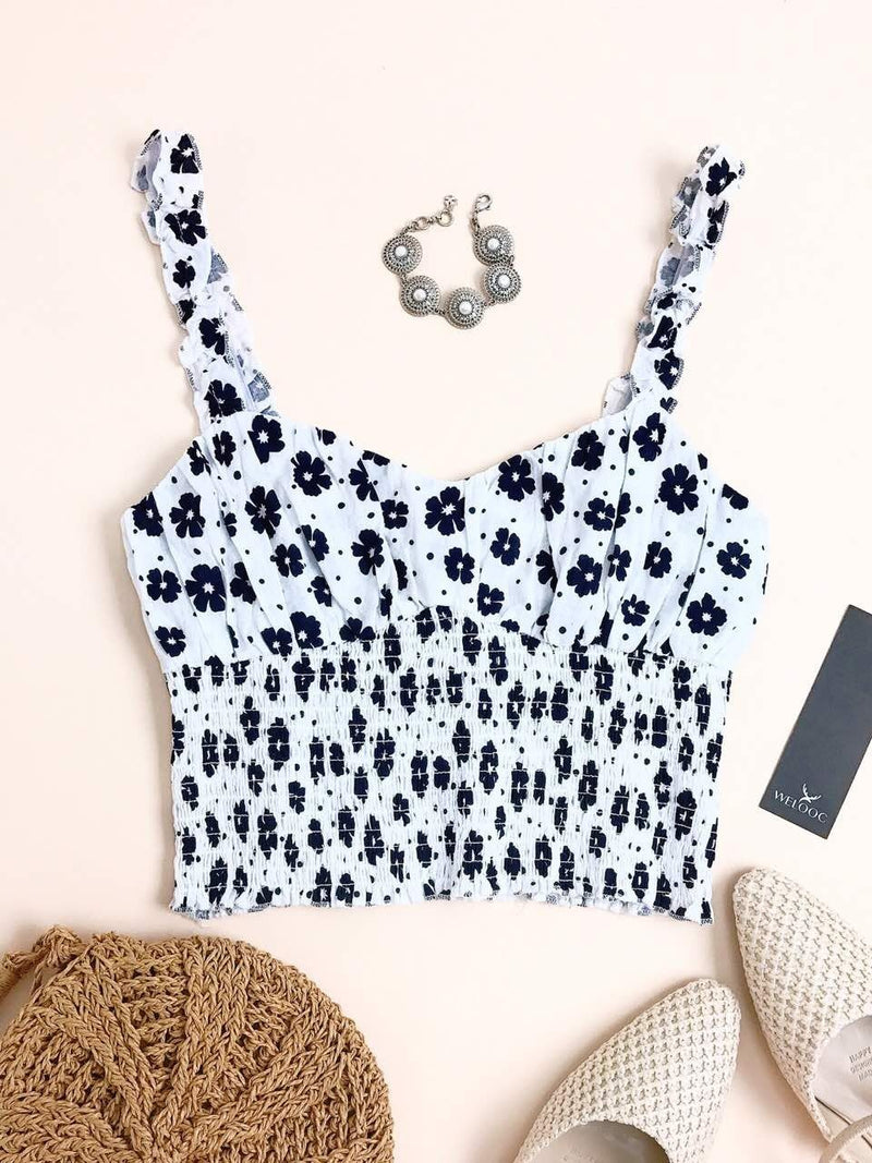 Floral Print Pleated Backless Tank Top