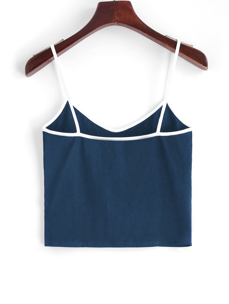 Contrast Cropped Butterfly Cami Top