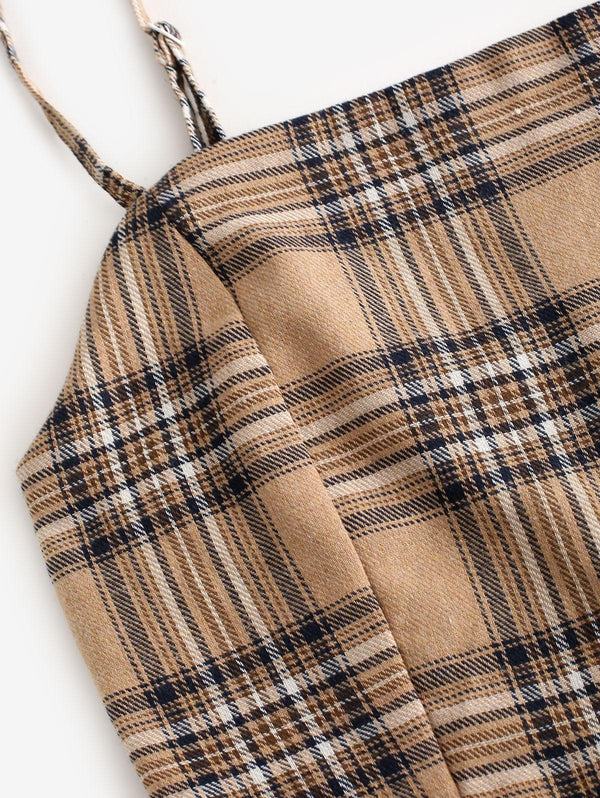 Plaid Smocked Buttons Belted Two Piece Suit