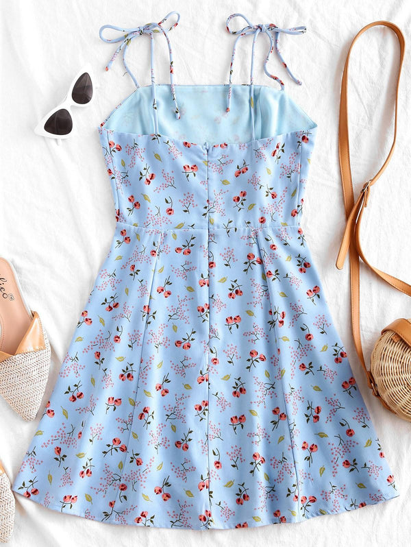 Woman Tiny Floral Tie Strap Flare Dress