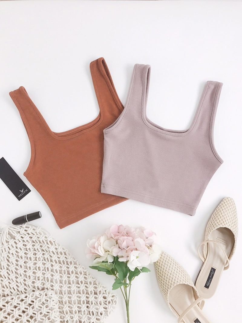 Plain Ribbed Cropped Tank Top