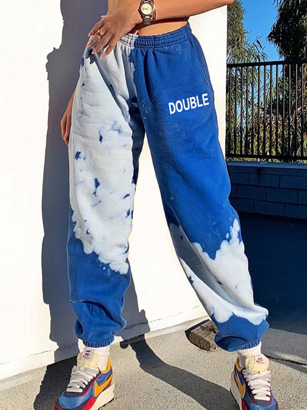 Clound Tie Dye Letter Print Sweatpants Jogger Pants