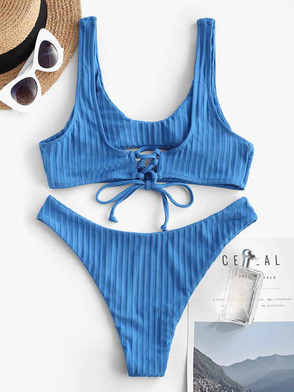 Ribbed Cut Out Lace Up Bikini Swimwear