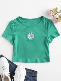 Floral Embroidered Ribbed Crop Tee
