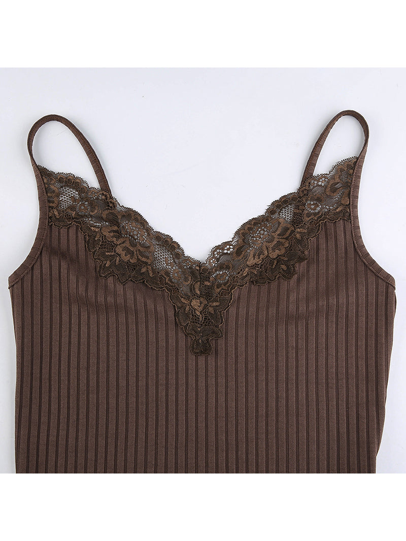 Plain Lace Panel Cami Top
