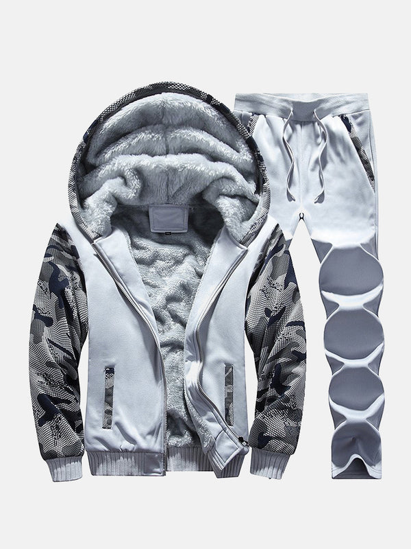 Men Fleeced Color Block Hooded Hoodie Sweatshirt Pants Set
