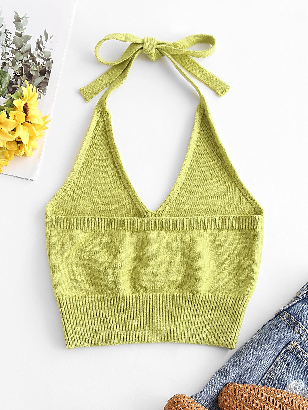 Solid Knitted Halter Crop Top