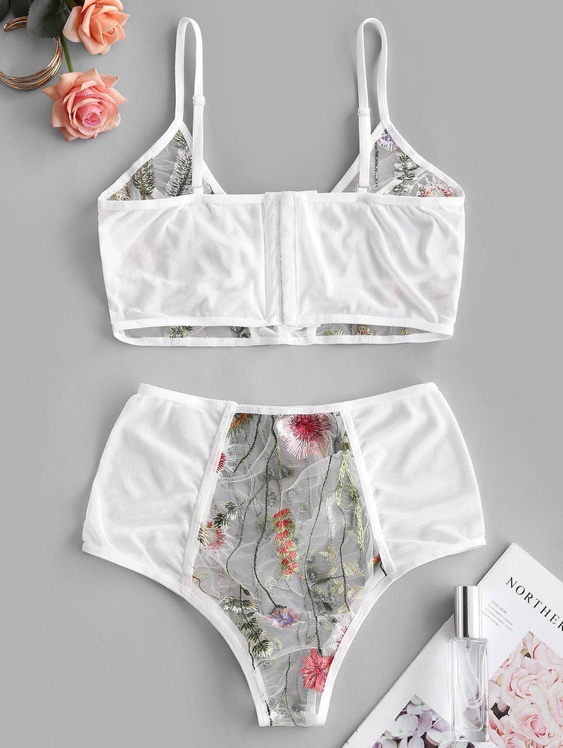 Sheer Mesh Floral Embroidered Lingerie Set