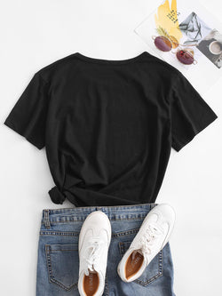 Slogan Graphic Star Basic T Shirt