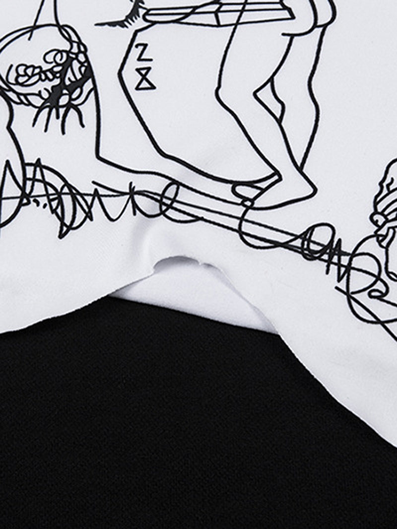 Letter Anime Print Turtle Neck Crop Top