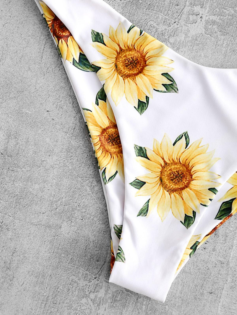 WELOOC Knot Sunflower Print Bikini Set