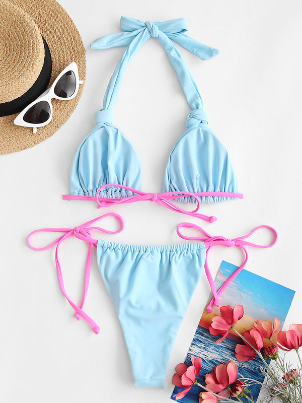 Colorblock Ruched Knot String Bikini Swimwear
