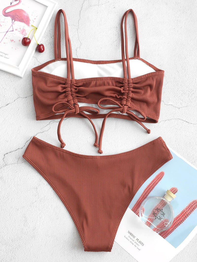 WELOOC Cinched Textured Ribbed Bikini Swimsuit