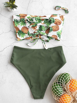 WELOOC Pineapple Lace-up Ruched Bandeau Tankini Swimsuit