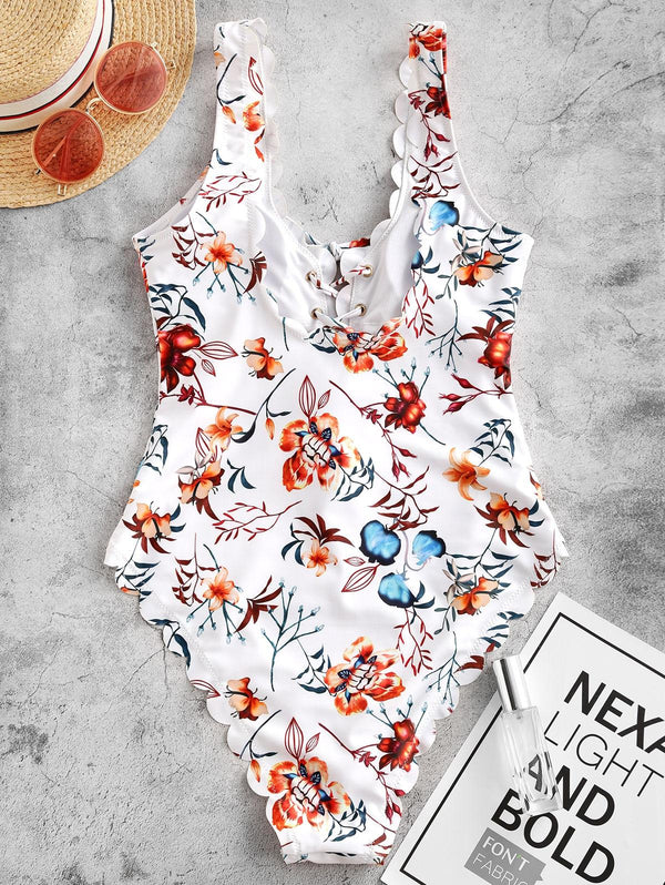 WELOOC Plant Print Lace-up Scalloped One-piece Swimsuit