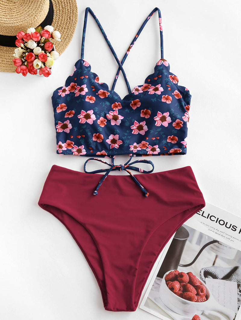 WELOOC Floral Scalloped Crisscross Tankini Swimsuit