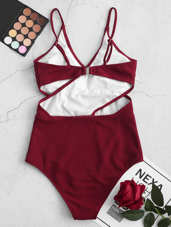 WELOOC Ribbed Cutout Cami One-piece Swimsuit