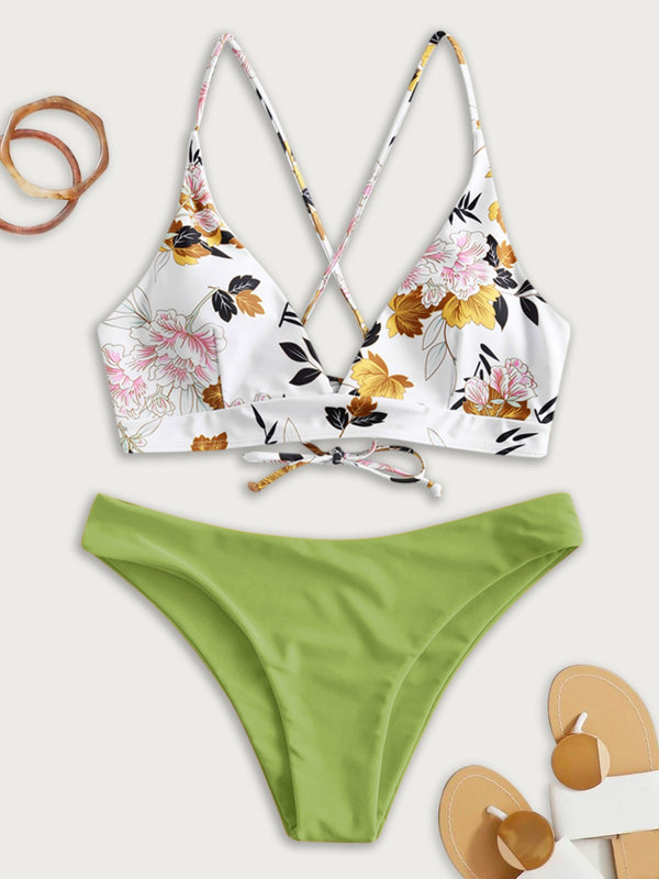 WELOOC Flower Leaf Criss Cross Lace Up Bikini Swimsuit
