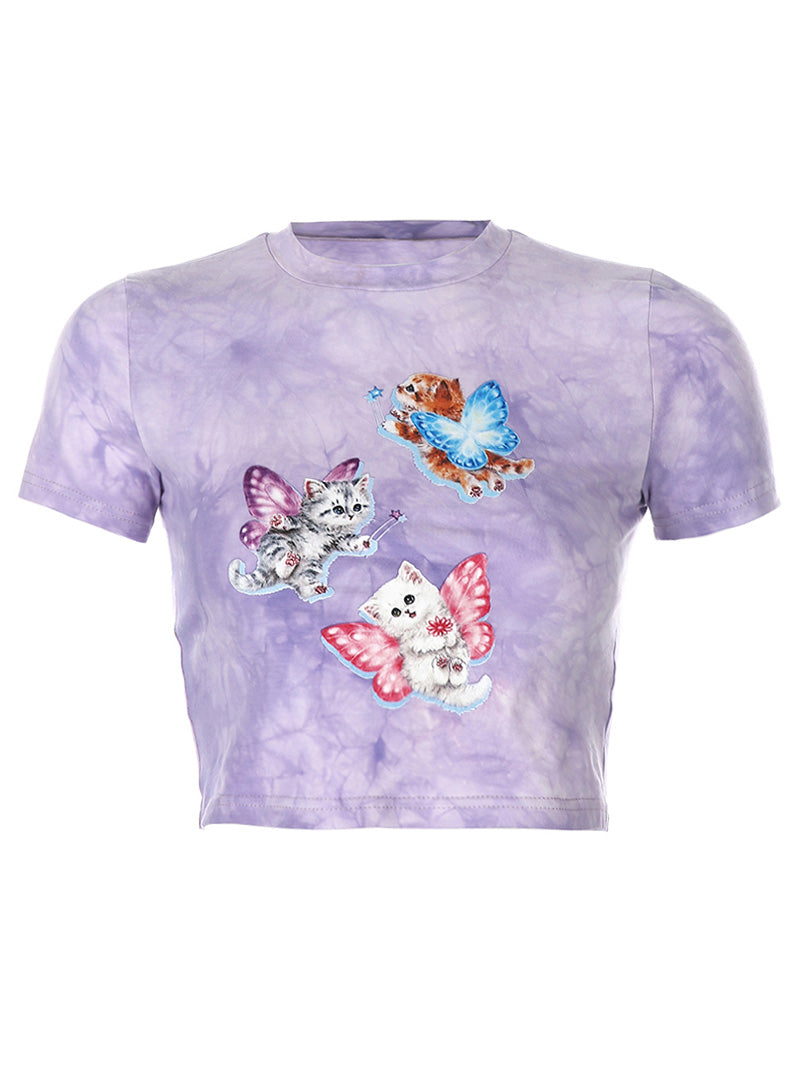 Tie Dye Angel Cat Print Slim Tee