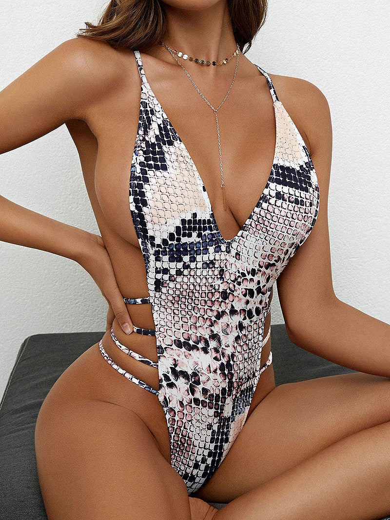 Animal Print Side Strappy Crisscross One-piece Swimsuit