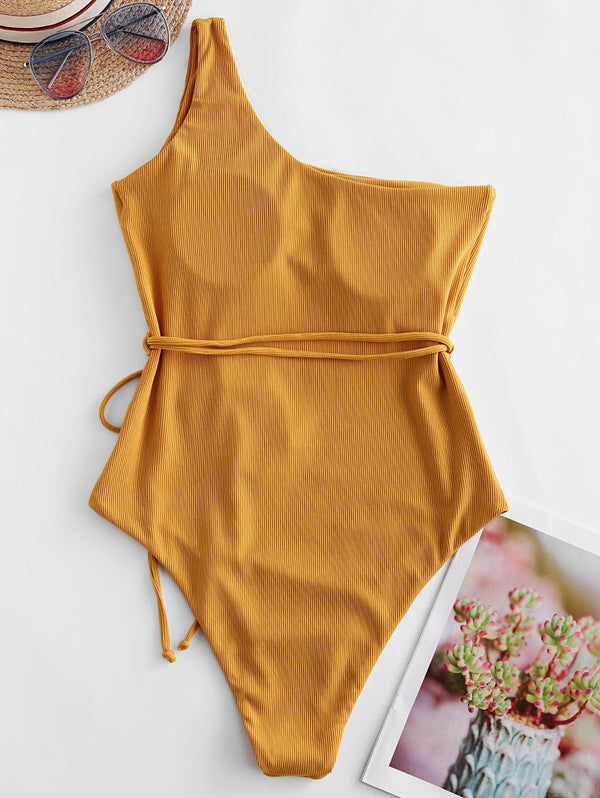 WELOOC One Shoulder Belt Ribbed One-piece Swimsuit