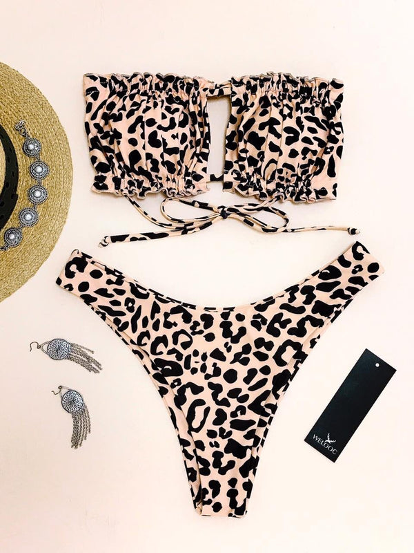 WELOOC Animal Print Cheetah Frilled Tie Bandeau Bikini Swimsuit