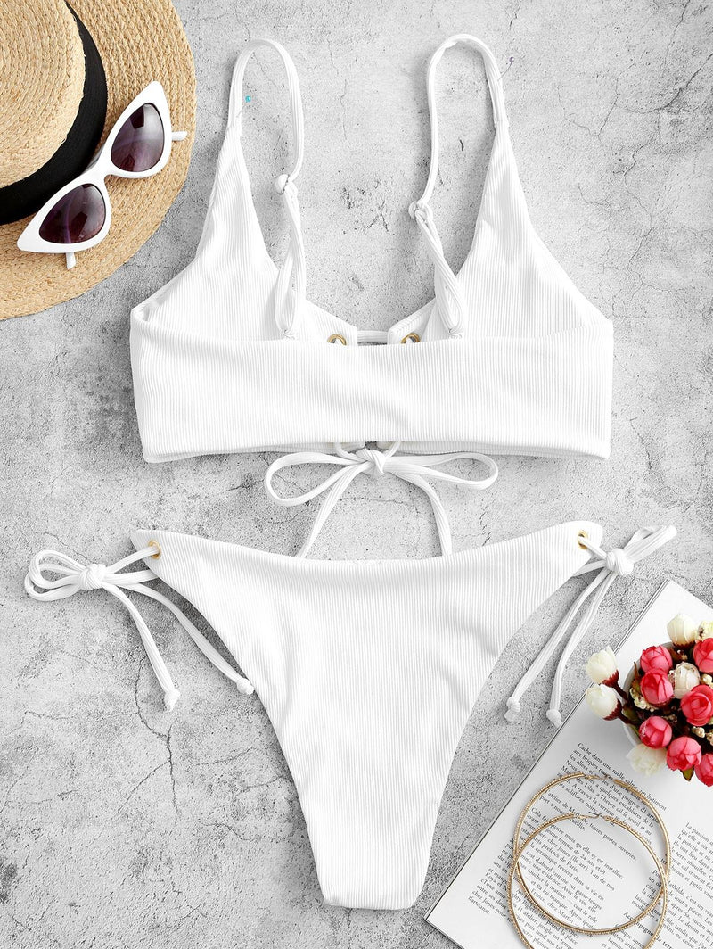 WELOOC Lace-up Tie Side Ribbed Bikini Swimsuit