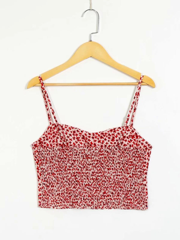 Floral Print Pleated Backless Cami