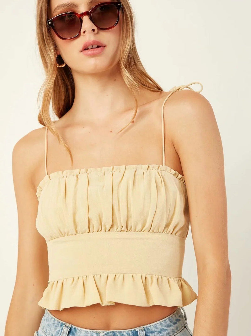 Solid Pleated Cami with Zipper