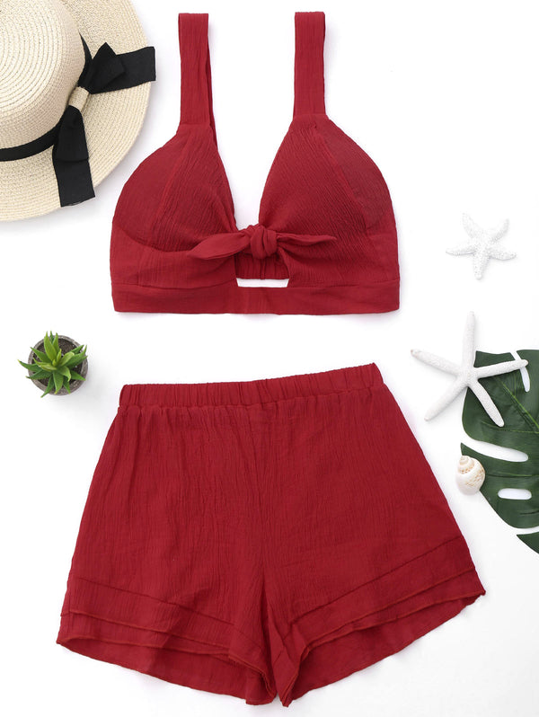 Cut Out Crop Top and Shorts Set